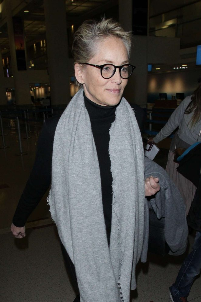 Sharon Stone - Arriving at LAX Airport in LA