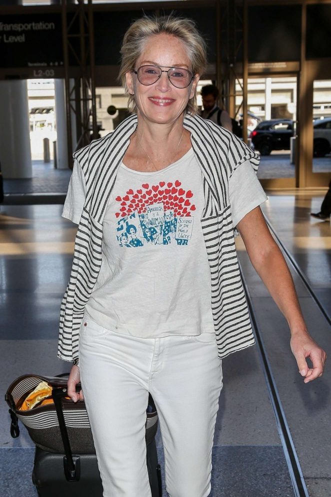 Sharon Stone - Arriving at LAX Airport in Los Angeles