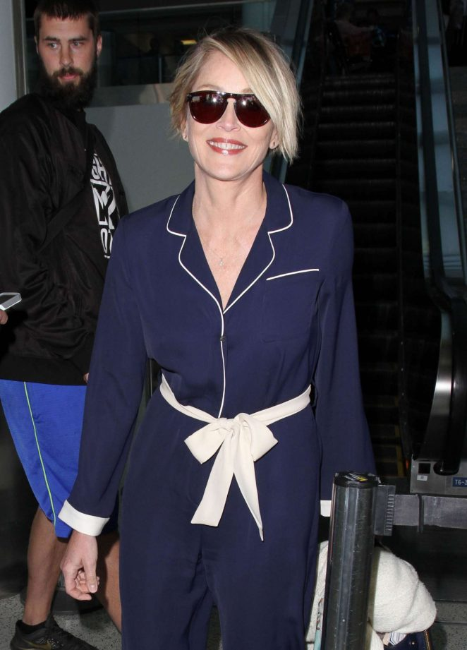Sharon Stone Arriving at Los Angeles Airport