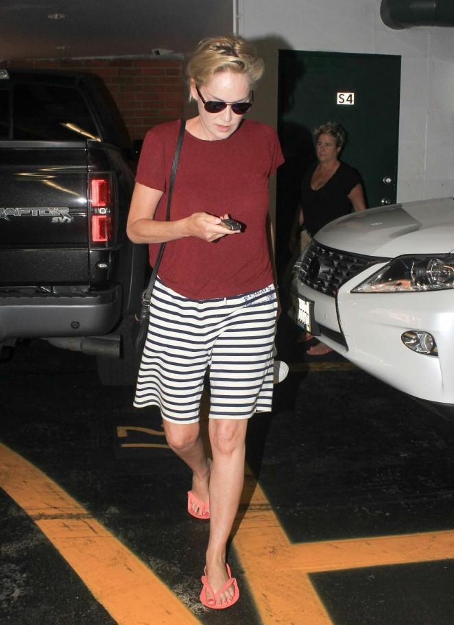 Sharon Stone at a nails salon in LA