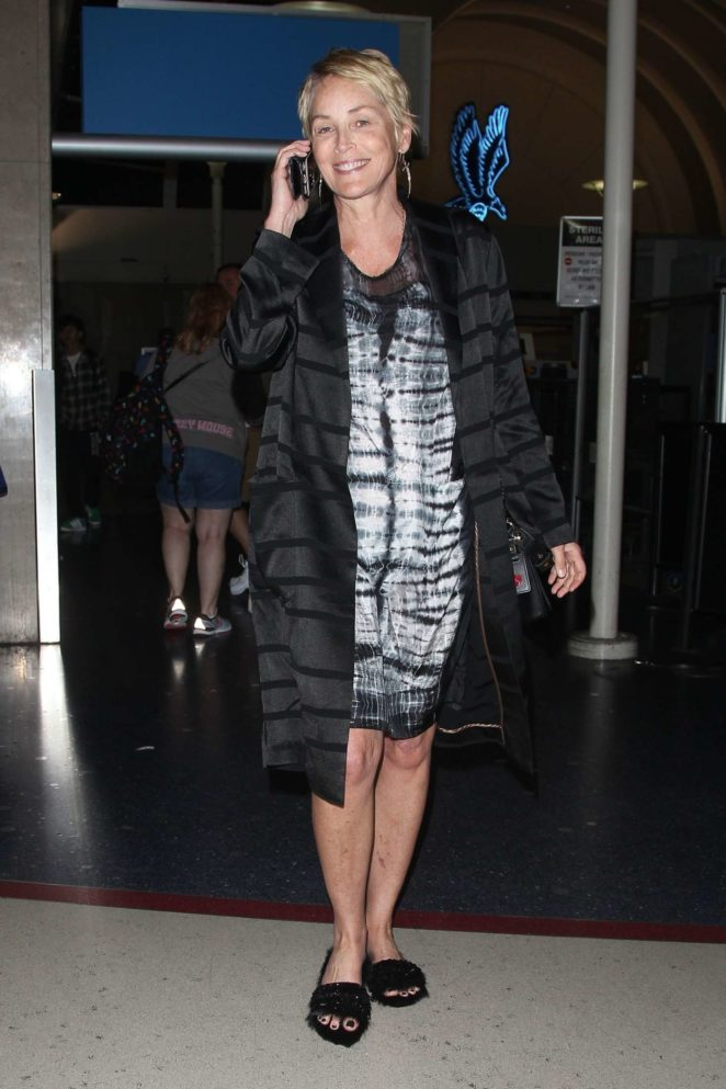Sharon Stone at LAX International Airport in Los Angeles