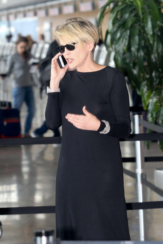 Sharon Stone at Washington Dulles International Airport