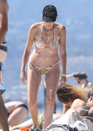 Sharon Stone in Bikini at the beach in Venice