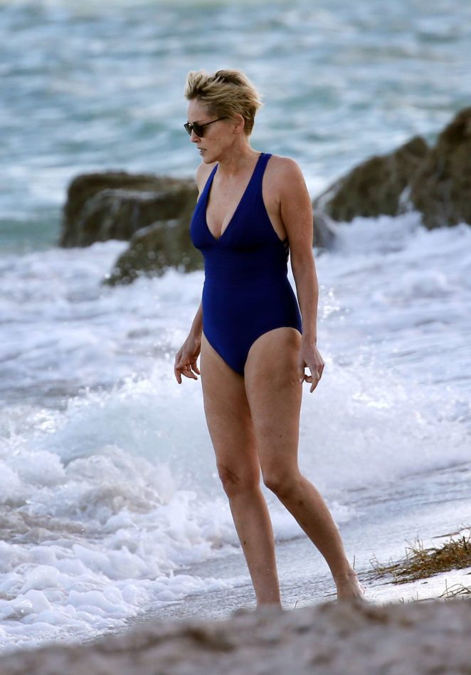 Sharon Stone in Blue Swimsuit 2017 -01