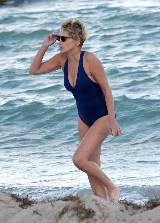 Sharon Stone in Blue Swimsuit 2017 -14