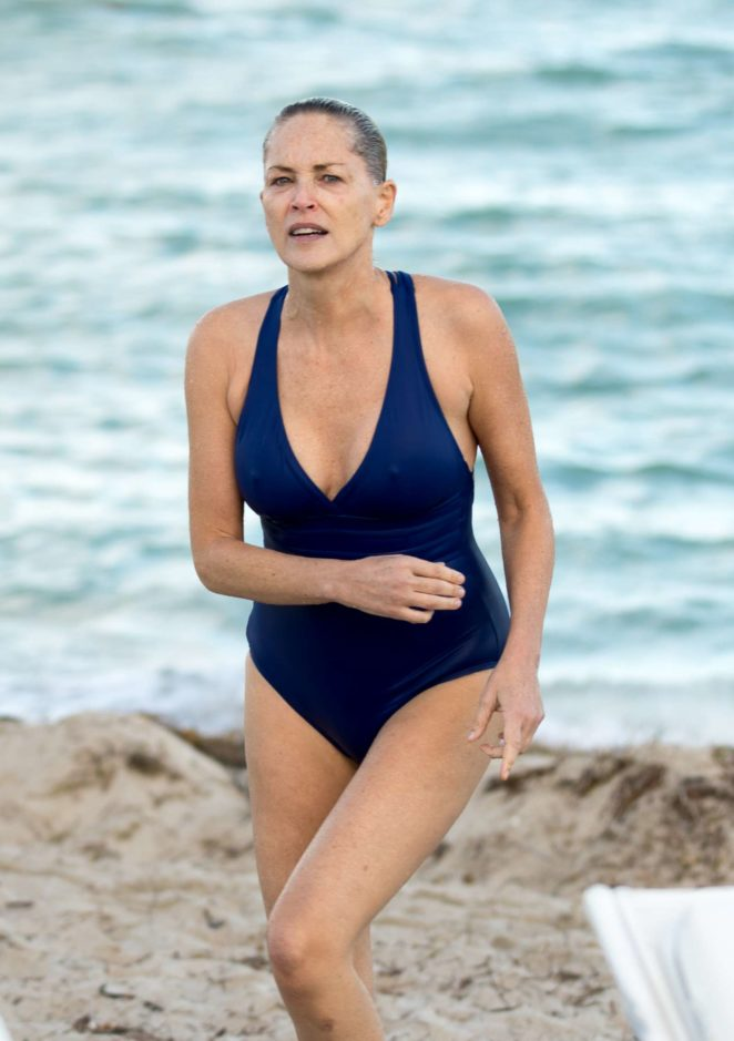 Sharon Stone in Blue Swimsuit 2017 -22