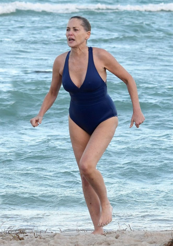 Sharon Stone in Blue Swimsuit 2017 -24