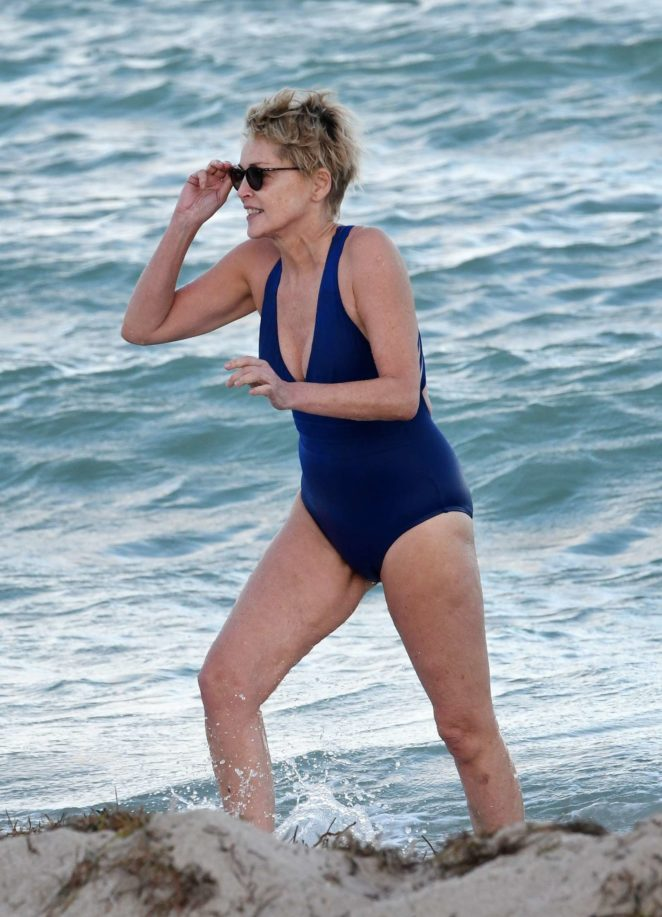 Sharon Stone in Blue Swimsuit 2017 -28