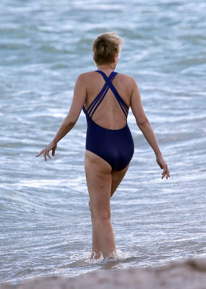 Sharon Stone in Blue Swimsuit 2017 -31