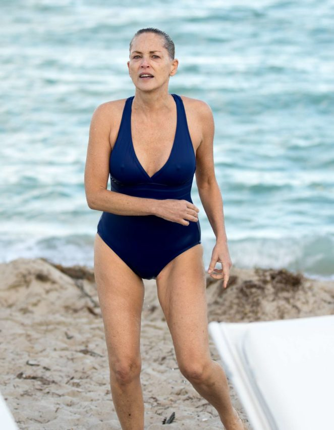 Sharon Stone in Blue Swimsuit 2017 -34