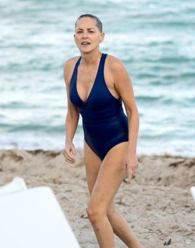 Sharon Stone in Blue Swimsuit 2017 -36