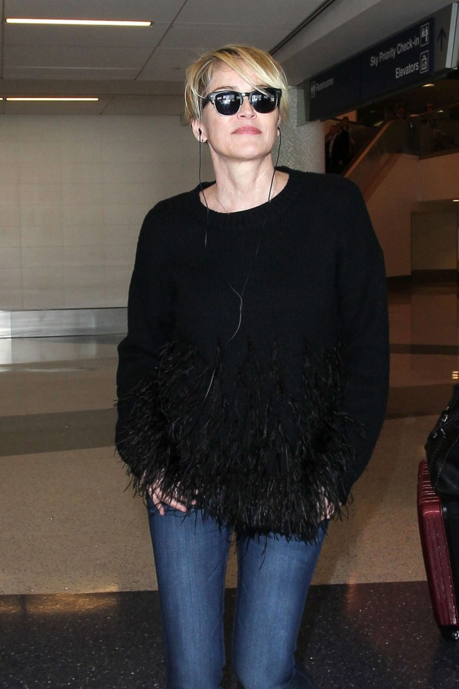 Sharon Stone in Jeans at LAX Airport in Los Angeles