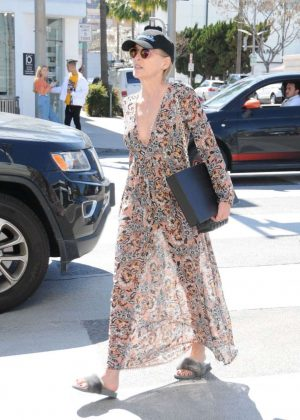 Sharon Stone in Sheer Dress out in Beverly Hills