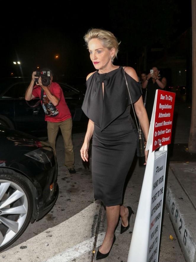 Sharon Stone - Leaving Craig's Restaurant in LA