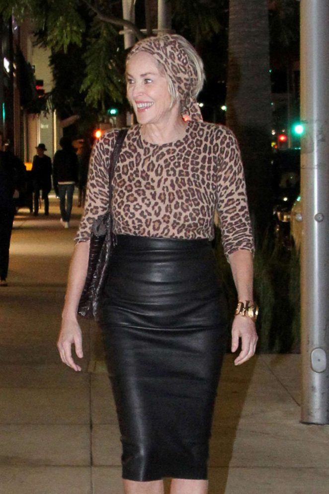 Sharon Stone out for dinner in Beverly Hills