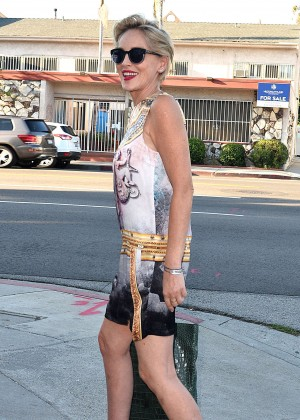 Sharon Stone in Mini Dress out in West Hollywood