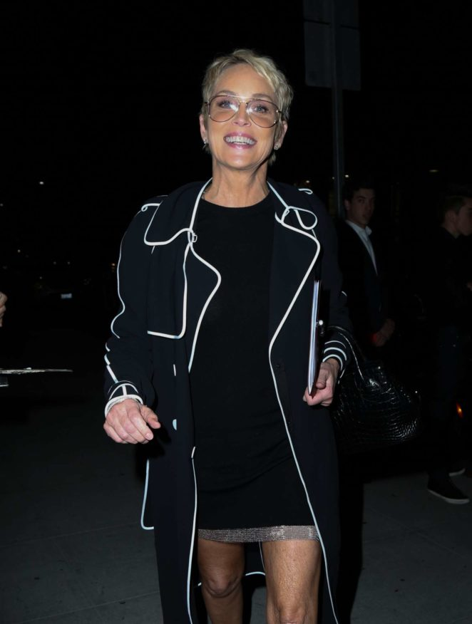 Sharon Stone shows some major leg in Beverly Hills