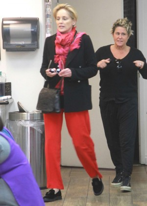 Sharon Stone - Spotted at a nail salon in Beverly Hills