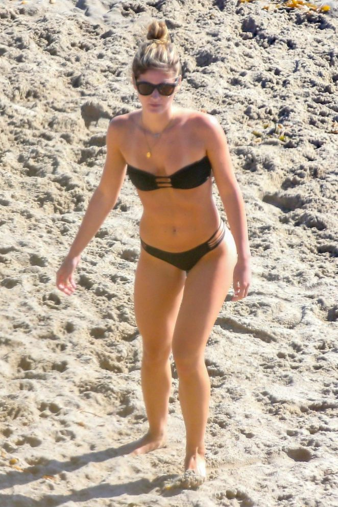 Shauna Sexton in Black Bikini on the beach in Malibu