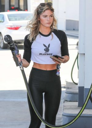 Shauna Sexton in Tights at a gas statrion in Woodland Hills