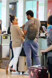 Shay Mitchell and Matte Babel - Arriving at Barcelona Airport