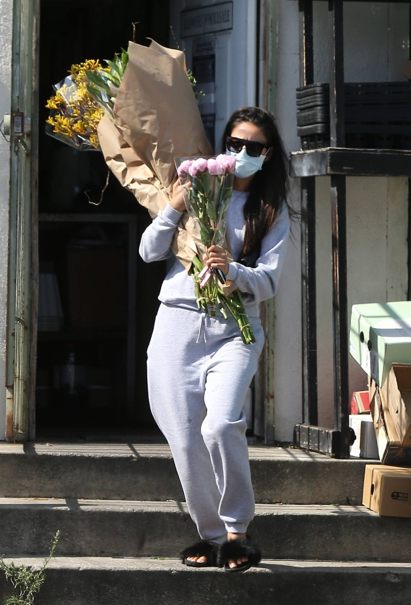 Shay Mitchell 2020 : Shay Mitchell – Buys a few bouquets of flowers in West Hollywood-04