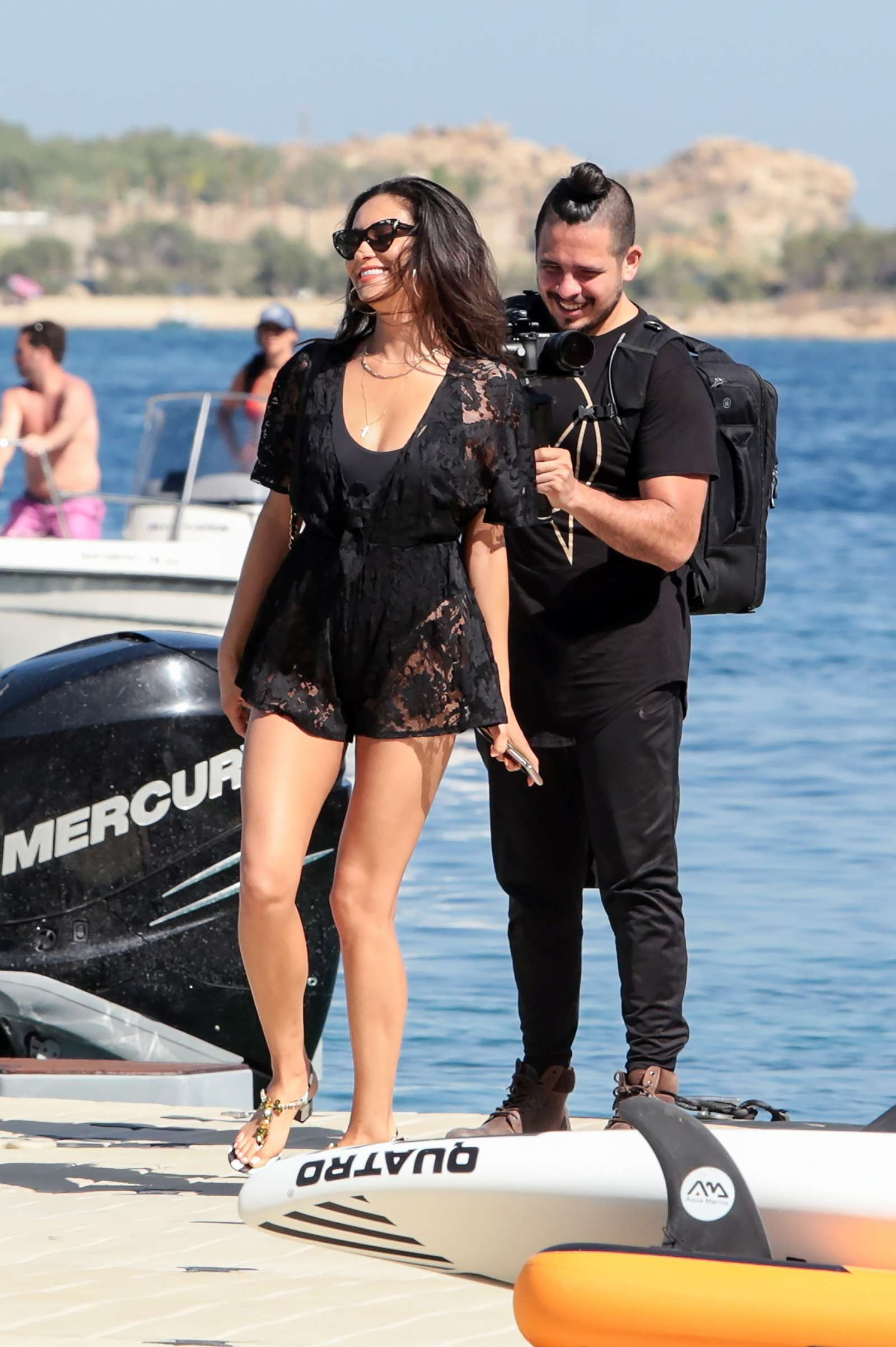 Shay Mitchell – Having fun before she leaves on a boat in Mykonos