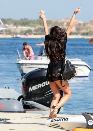 Shay Mitchell - Having fun before she leaves on a boat in Mykonos
