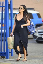 Shay Mitchell in Black Long Dress - Out in Los Angeles