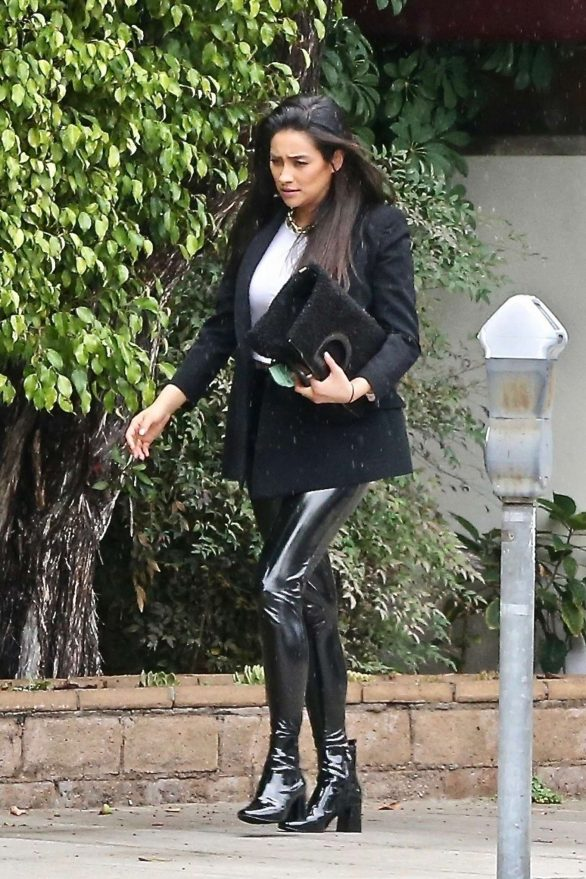 Shay Mitchell in Latex Pants - Attends lunch meeting at Matsuhisa in Beverly Hills