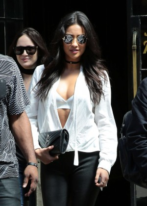 Shay Mitchell in Leather Pants Out in New York