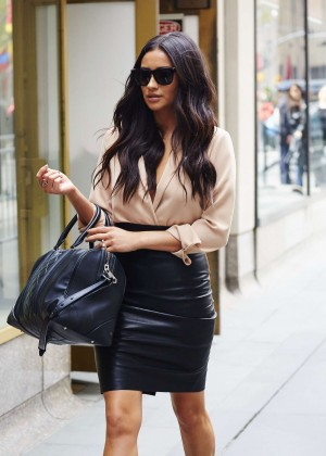 Shay Mitchell in Leather Skirt Out in New York City
