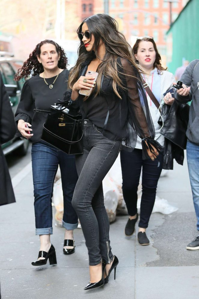 Shay Mitchell in Sknny Jeans out in NYC