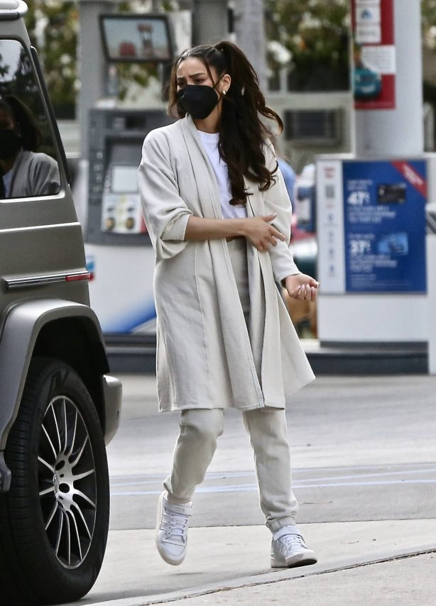 Shay Mitchell - Pumps gas in Los Feliz