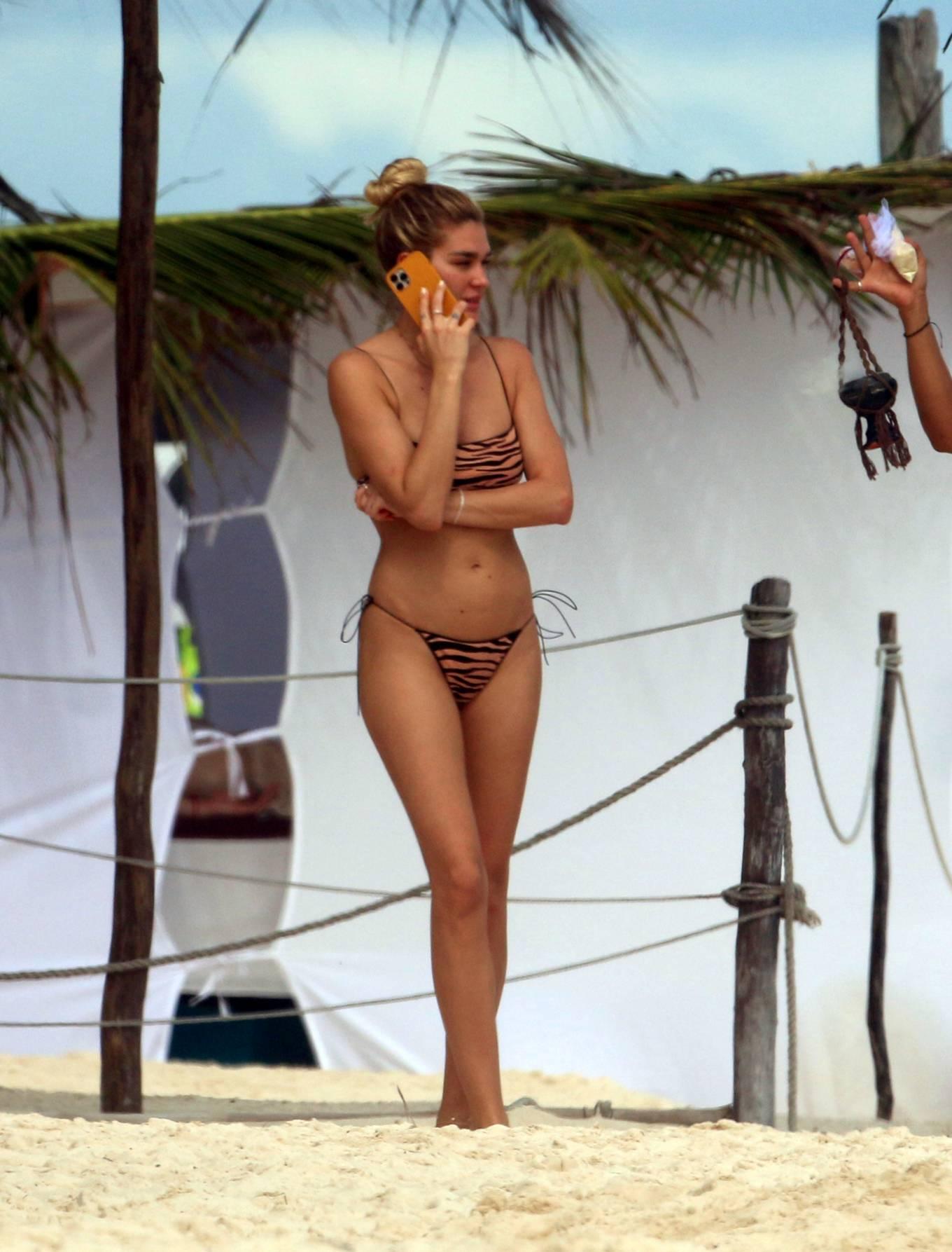 Shayna Taylor - In a tiger print bikini at a beach in Tulum