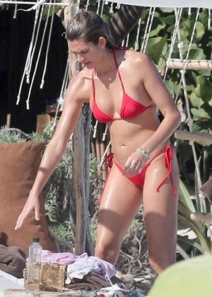 Shayna Taylor in Red Bikini on the beach in Tulum