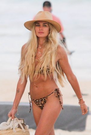 Shayna Taylor - Pictured in a leopard print bikini at a beach in Tulum