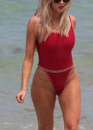 Shea Marie in Red Swimsuit at the beach in Miami
