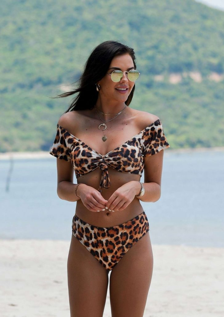 Shelby Tribble in Animal Print Bikini on the beach in Thailand