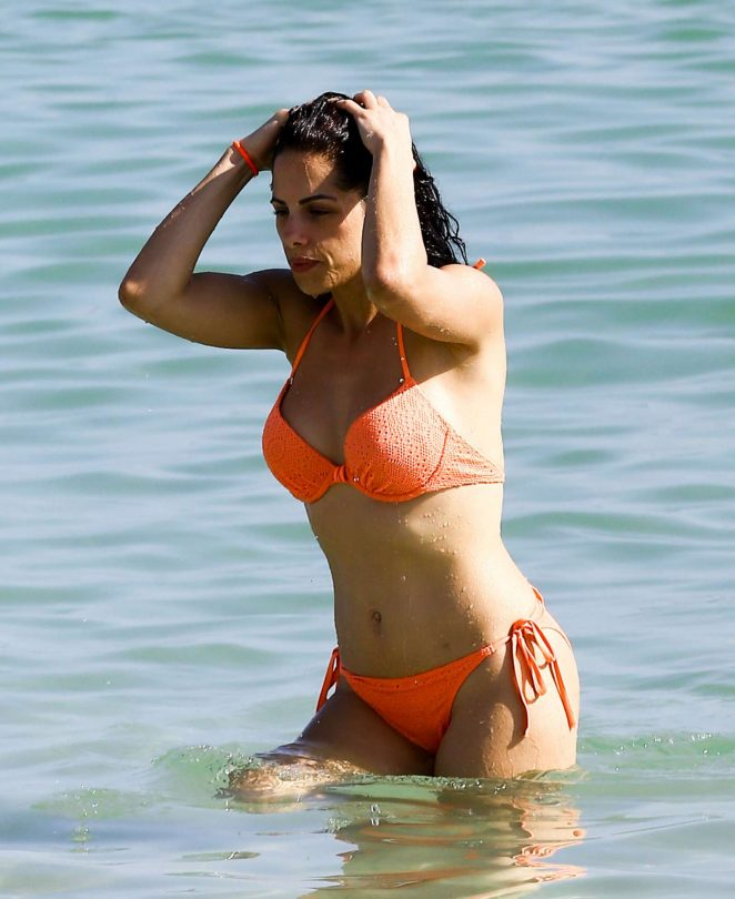 Shera Kerienski in Orange Bikini in Miami
