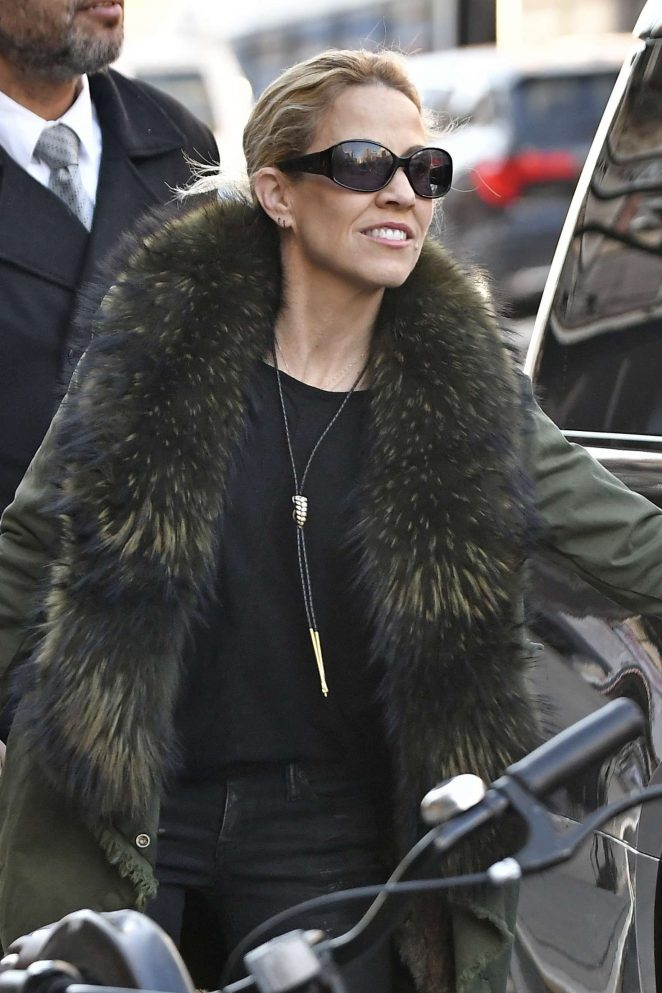 Sheryl Crow in a fur lined coat out in New York