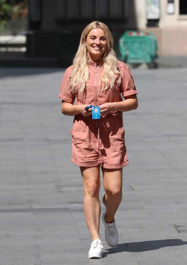 Sian Welby - Wearing a beige playsuit while leaving Capital radio in London