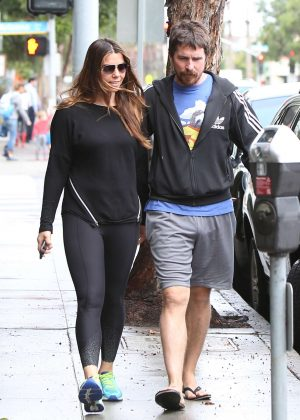 Sibi Blazic and Christian Bale out in Santa Monica