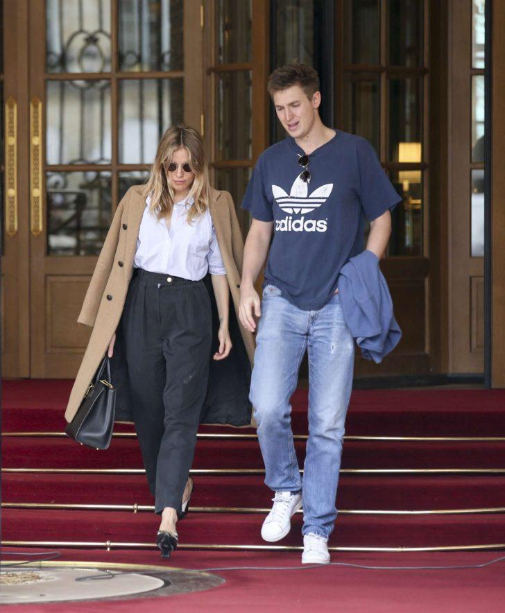 Sienna Miller and boyfriend Lucas Zwirner: Leave their hotel in Paris -02