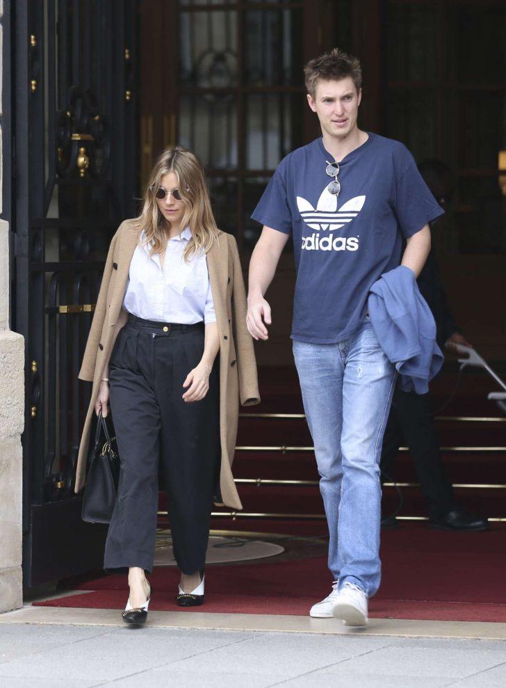 Sienna Miller and boyfriend Lucas Zwirner: Leave their hotel in Paris -04