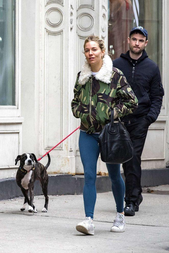 Sienna Miller and ex Tom Sturridge - Walk dog in New York