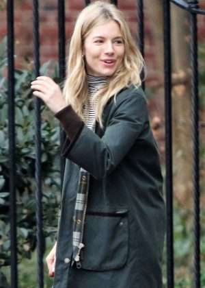 Sienna Miller catching a cab in New York City