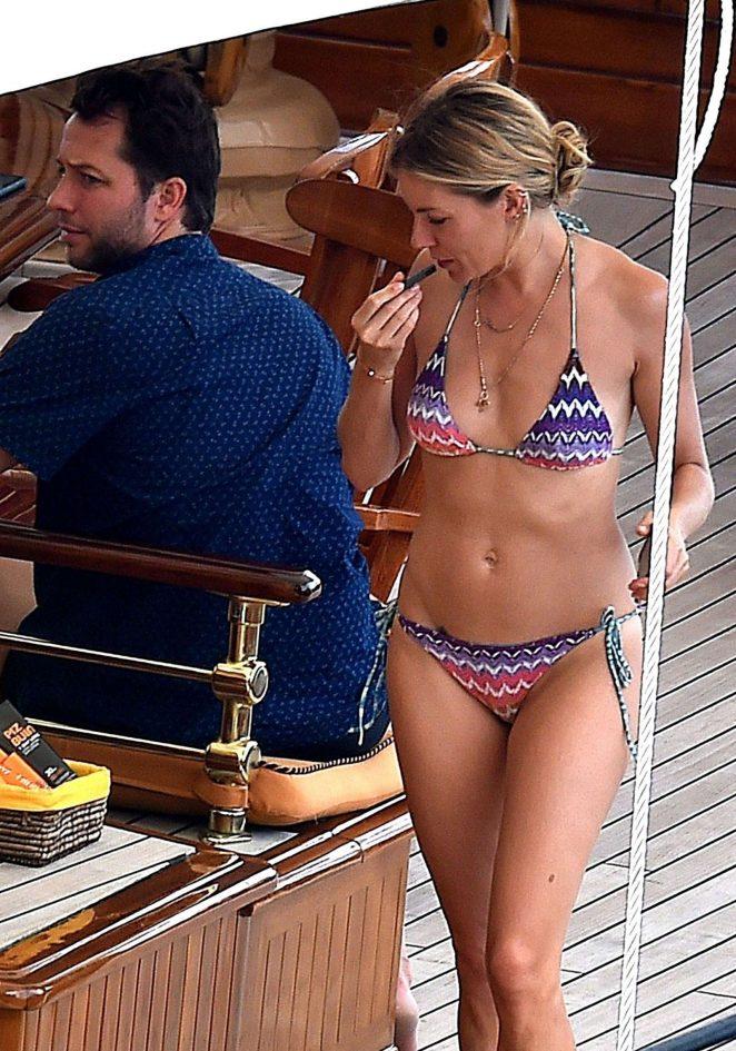 Sienna Miller in Bikini on a boat trip in Portofino