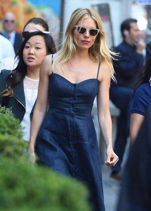Sienna Miller in Blue Dress Out in New York