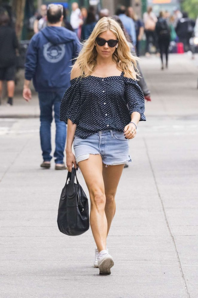 Sienna Miller in Denim Shorts -04